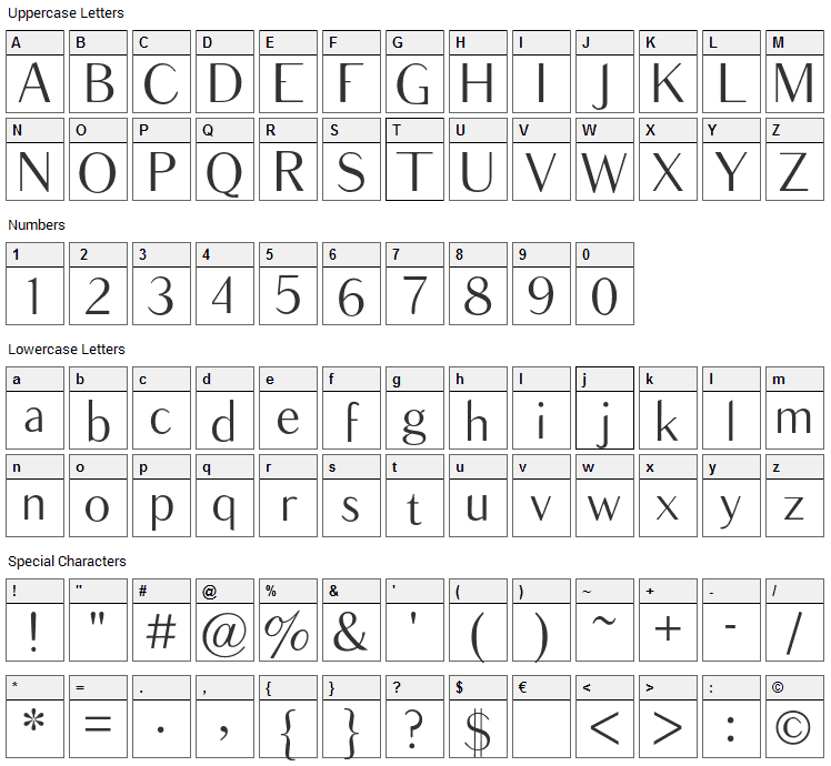 Balham Font Character Map
