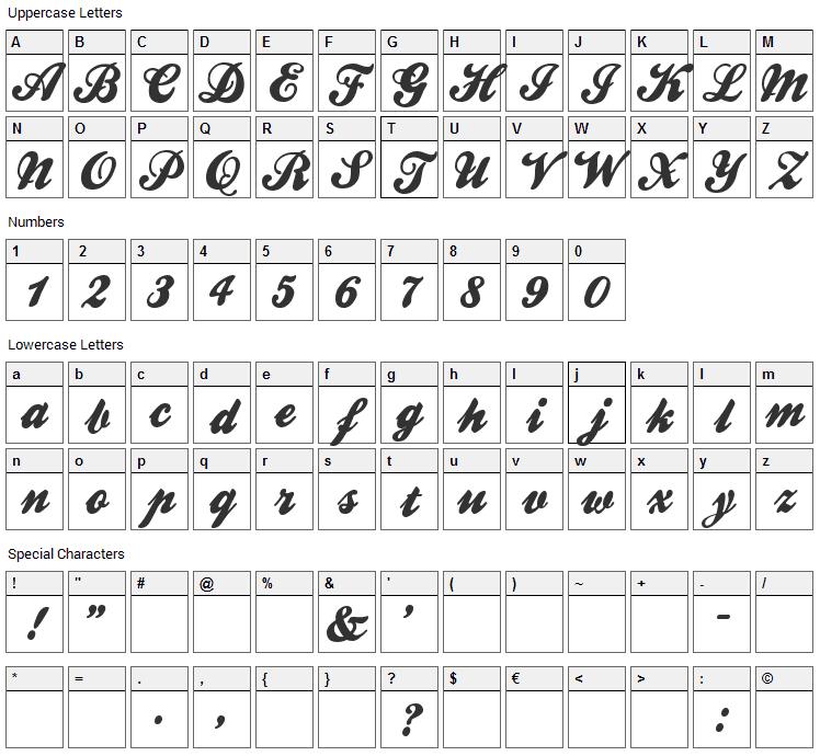 Ballpark Weiner Font Character Map