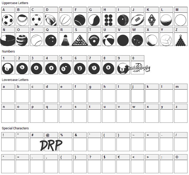 Balls Balls and More Balls Font Character Map