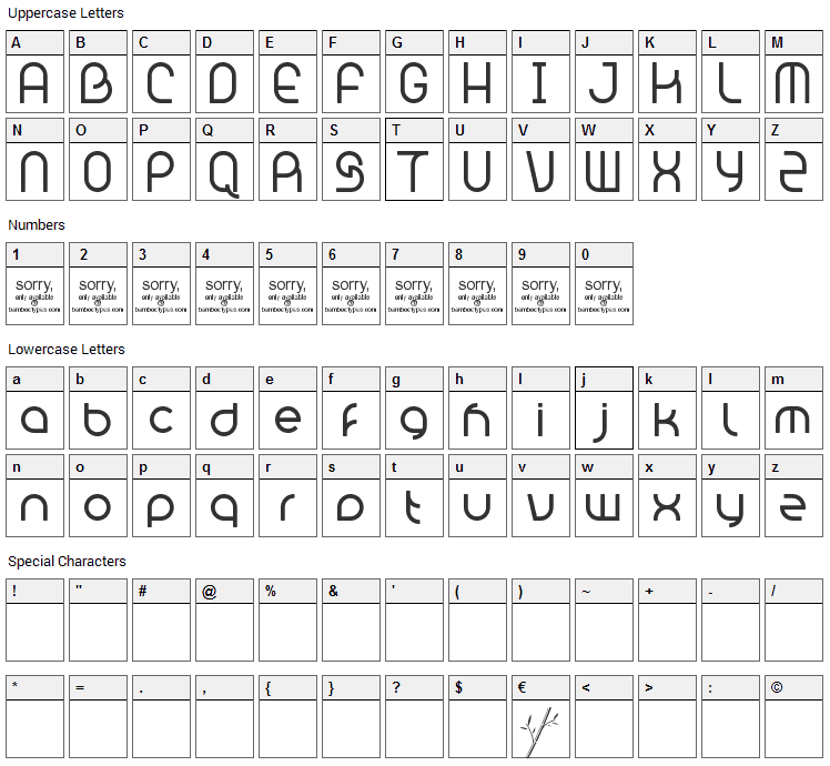 Bambhout Connect Font Character Map
