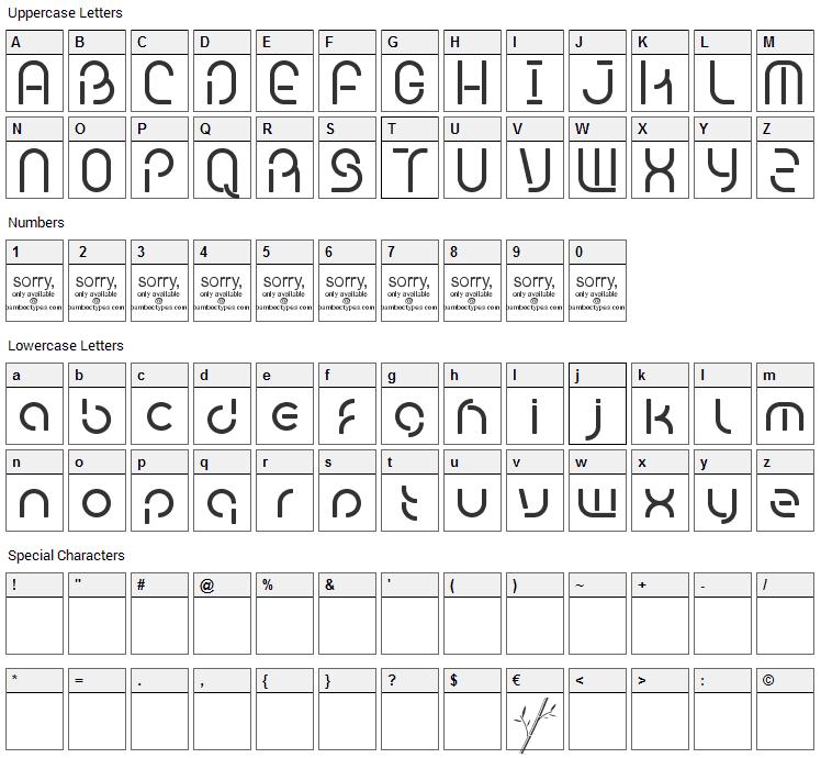Bambhout Font Character Map