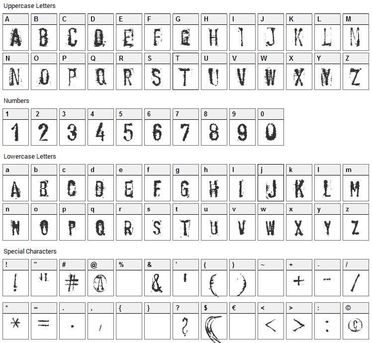 Banana Type Font Character Map