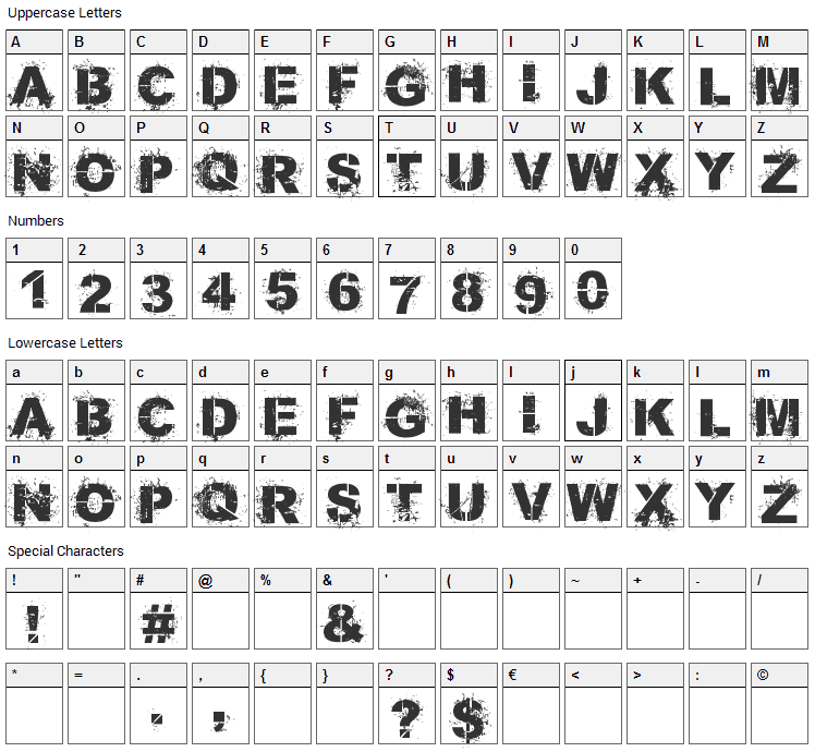 Bang 4 Ya Buck Font Character Map