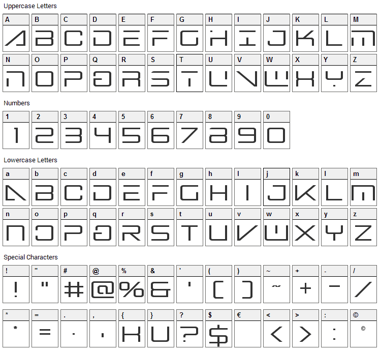 Banshee Pilot Font Character Map