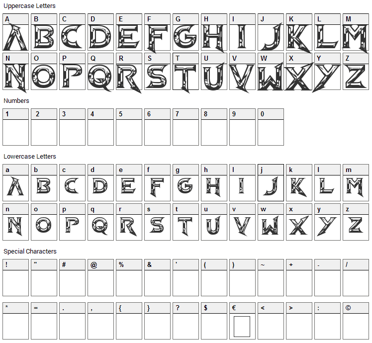 Barbarian NS Font Character Map