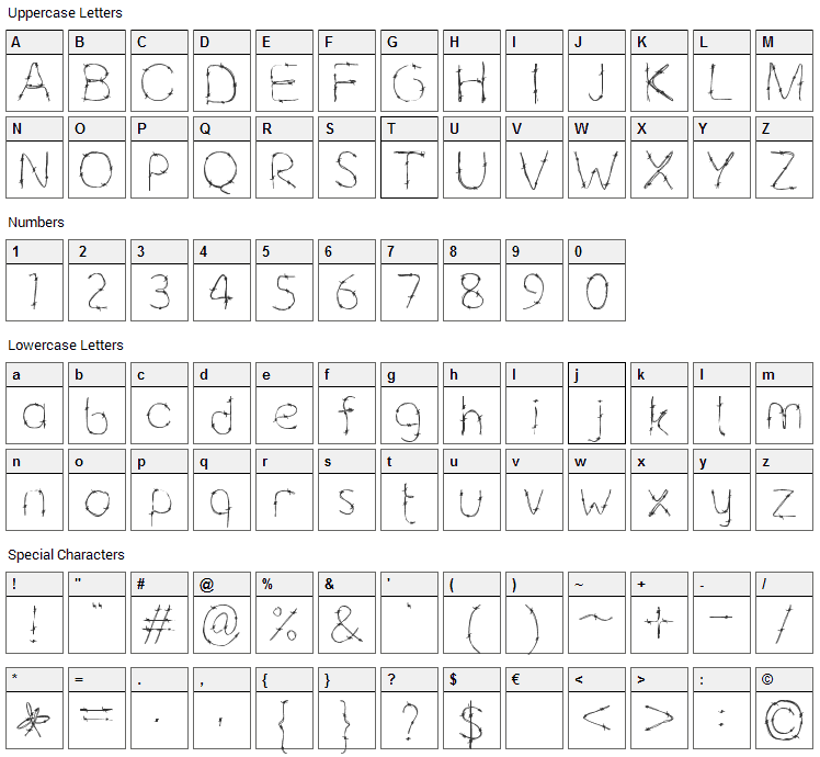 Barbaric Font Character Map