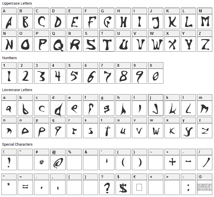 Barbed Ink Font Character Map
