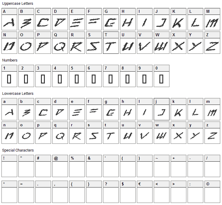Barbed Type Font Character Map