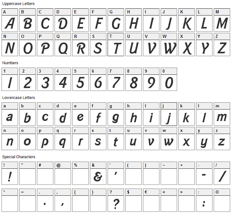 Barbie Font Character Map