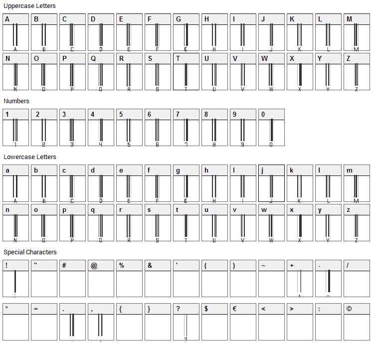 Barcode Font Character Map