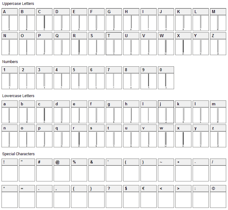 Barcoding Font Character Map