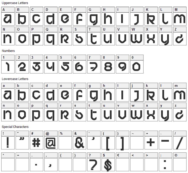 Bardust Font Character Map