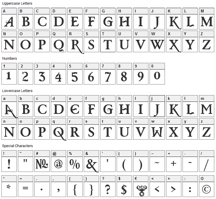 Baris Cerin Font Character Map