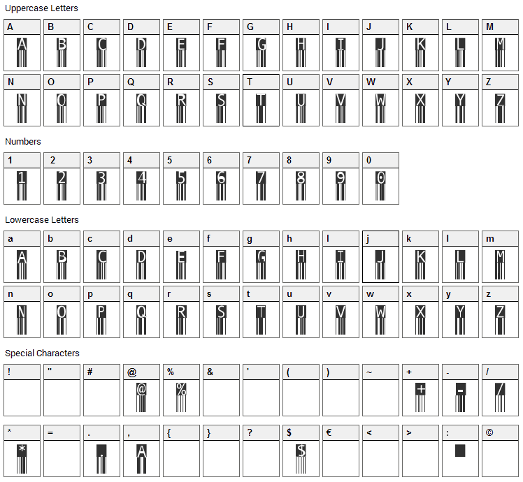 BarMKode-Inverse Font Character Map