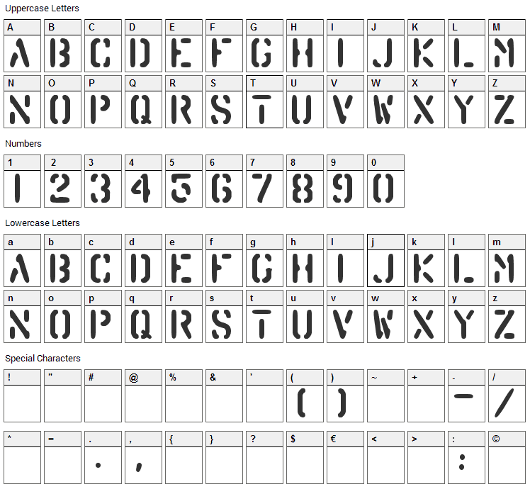 Barrel Font Character Map