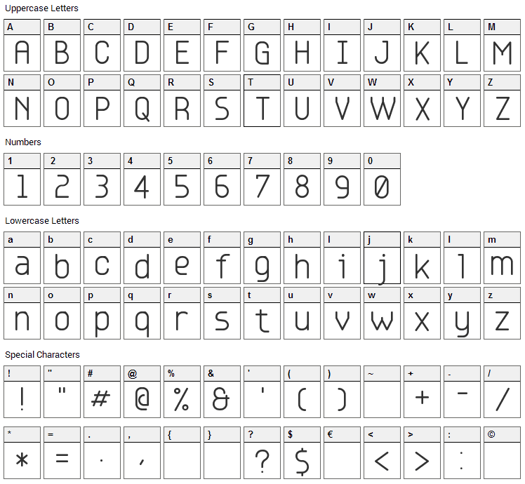 Base 4,5,6 Font Character Map
