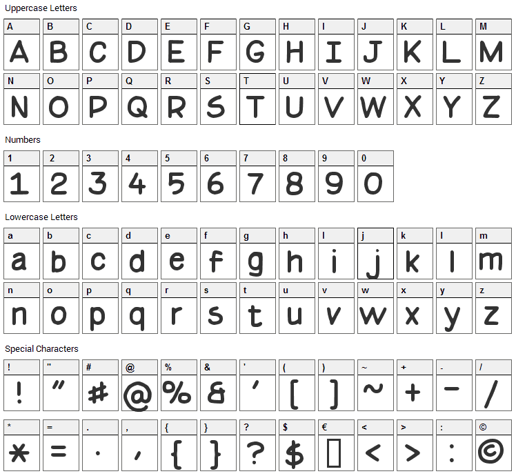 Basic Comical Font Character Map