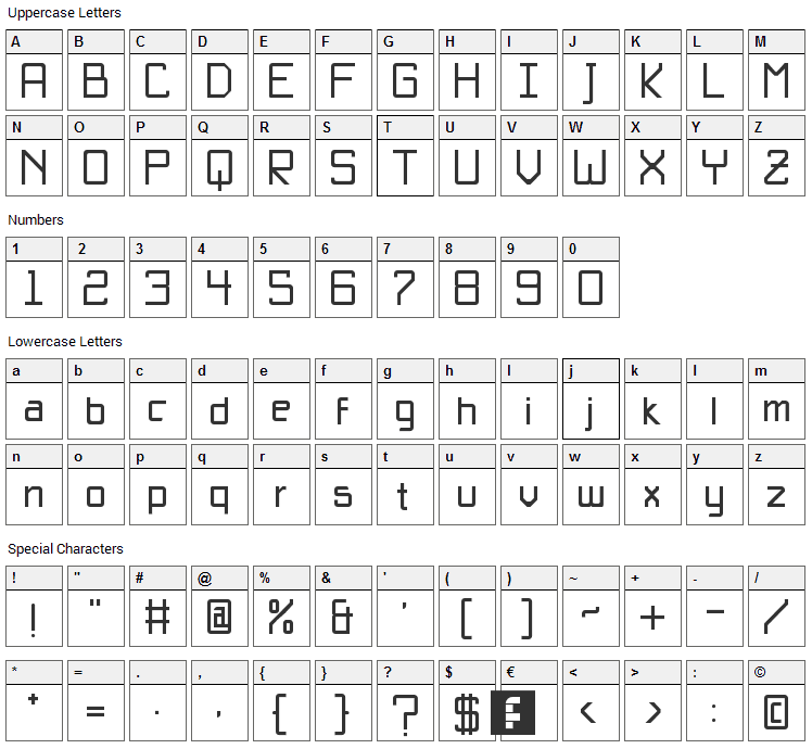 Basica Unicode Font Character Map