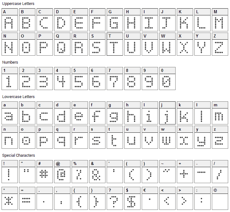 Basicdots Font Character Map