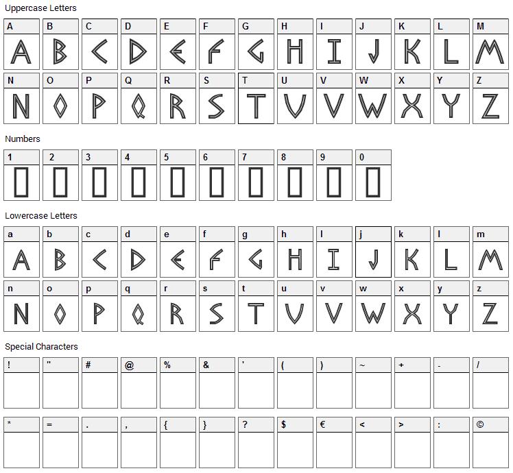 Basileus Font Character Map