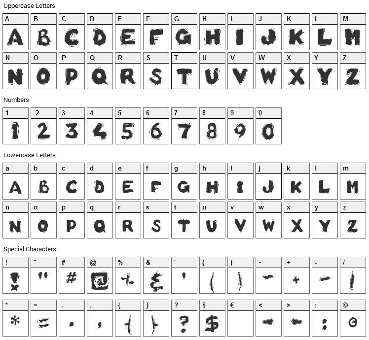 Basket of Hammers Font Character Map