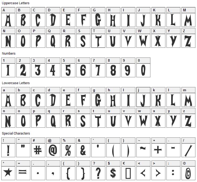 BatFont Font Character Map