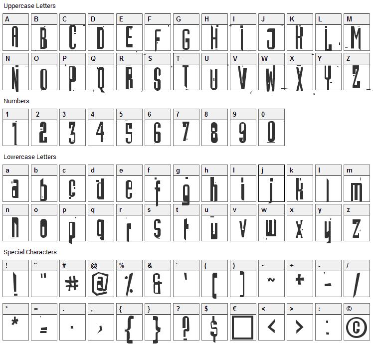Batmos Font Character Map
