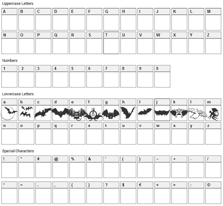 Bats Symbols Font Character Map