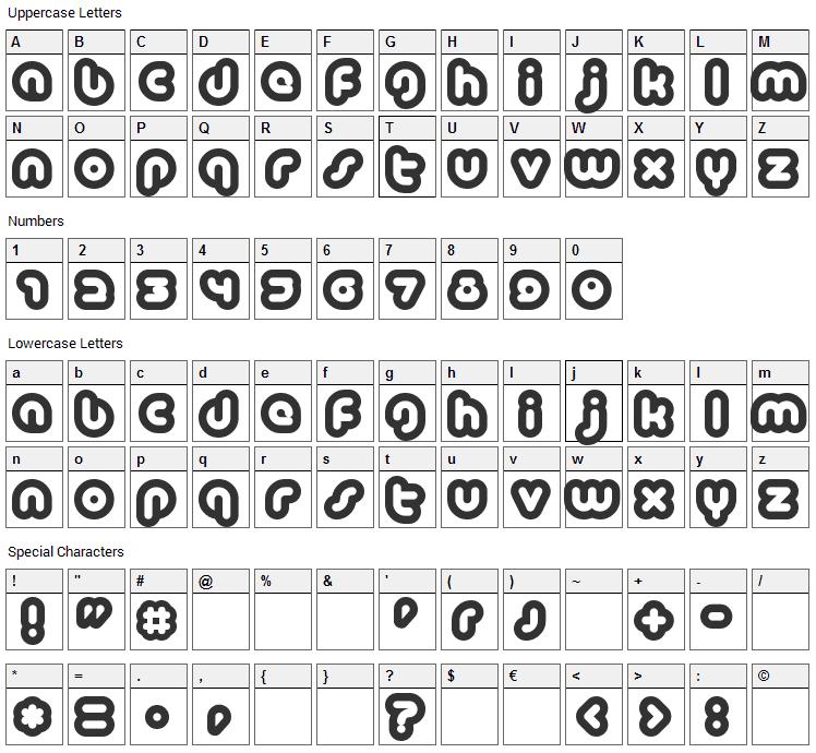 Baubau Font Character Map