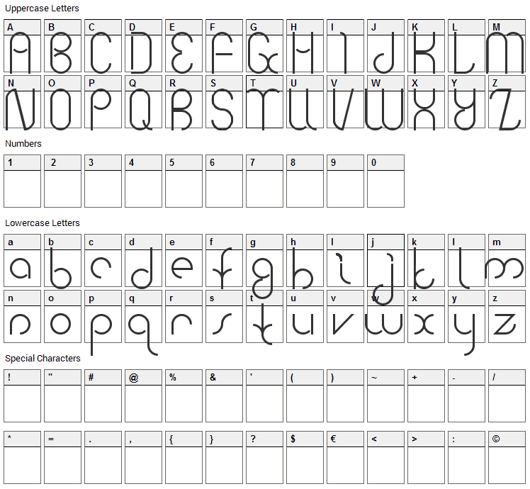 Bauhaus Two Font Character Map