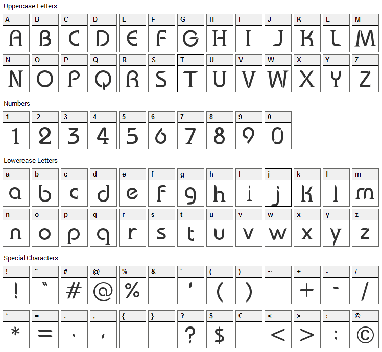 Bauserif Font Character Map