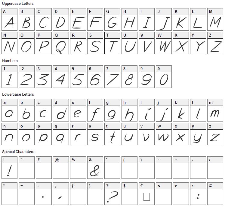 Bayou Font Character Map