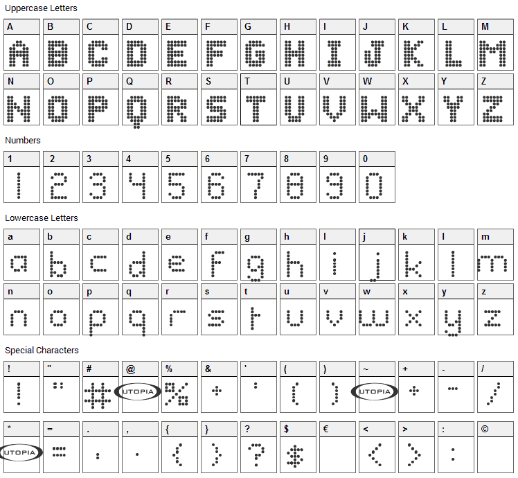 Bazaronite Font Character Map