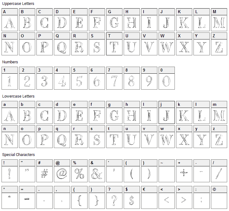 BB Petie Boy Font Character Map