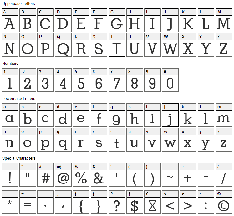 BDP OldNeo Font Character Map