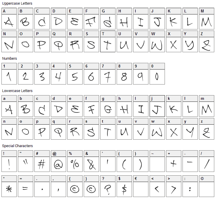 Be Aggressive Font Character Map