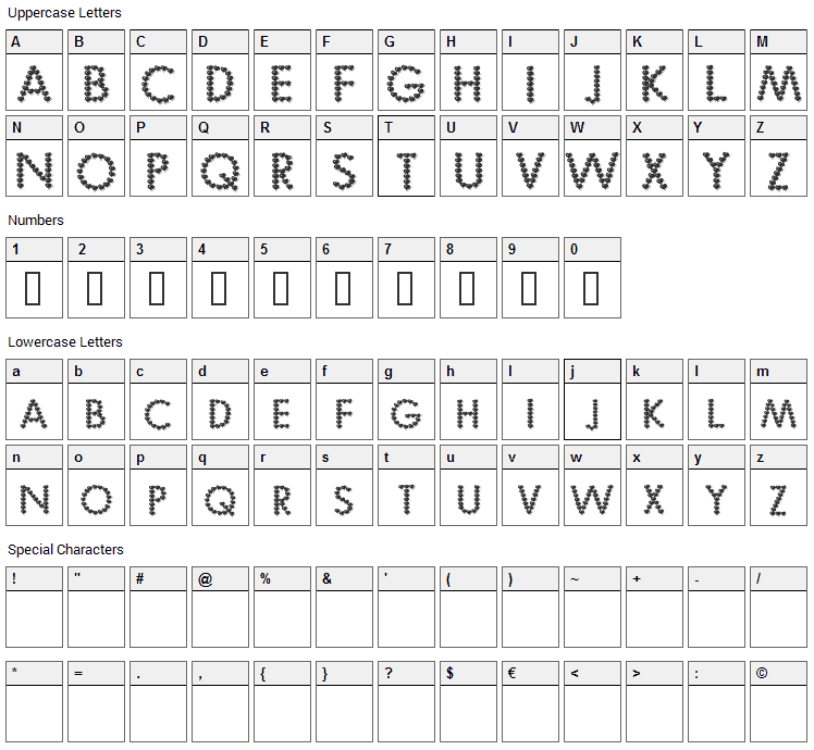 Be My Valentine Font Character Map