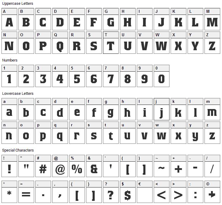 Beagle Brigade Font Character Map