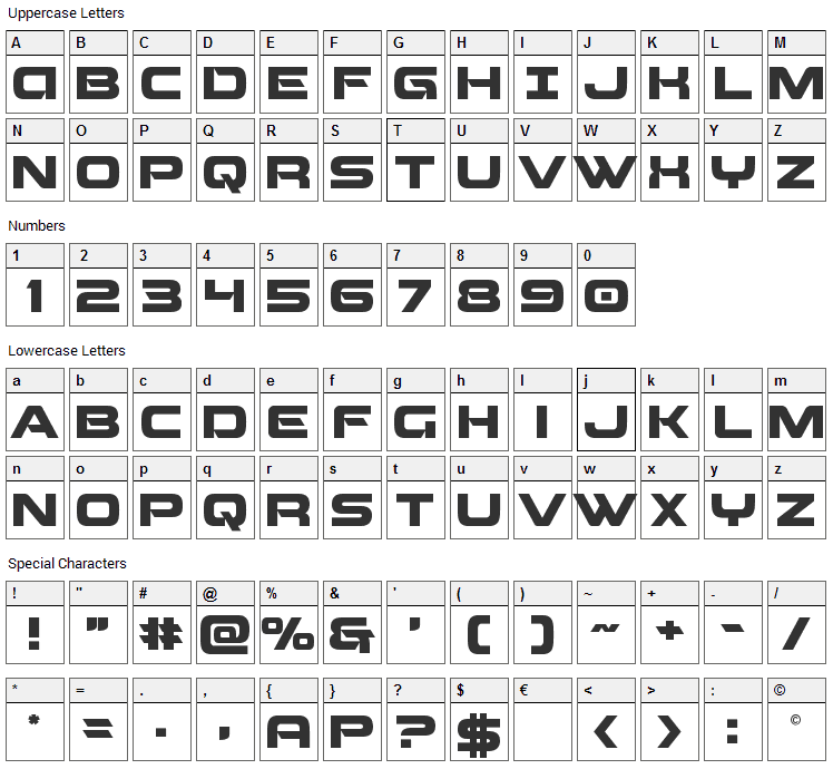 Beam Weapon Font Character Map