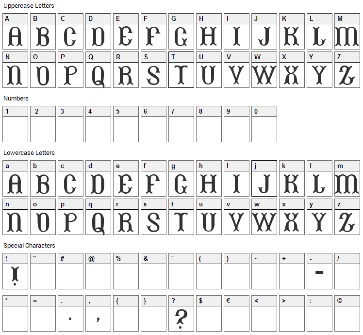 Beans Font Character Map