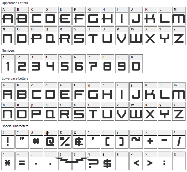 Beast Machines Font Character Map