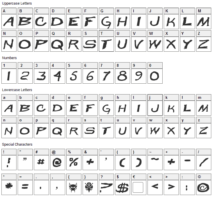 Beast Wars Font Character Map