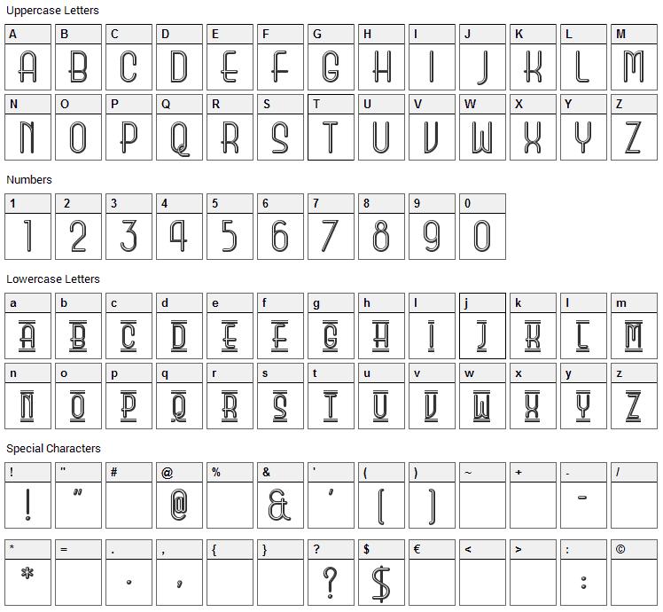 Beauty School Dropout II Font Character Map