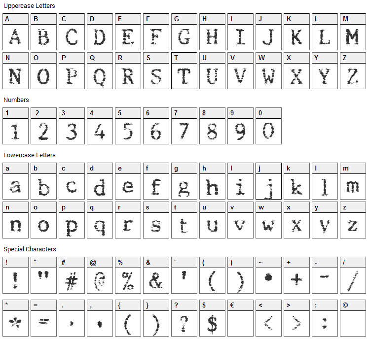 Beccaria Font Character Map