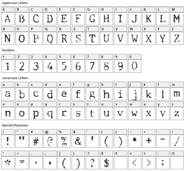 Beccaria Font Character Map