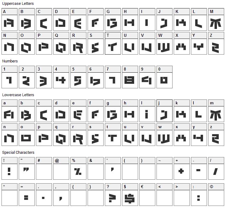 Bedlam Remix Font Character Map