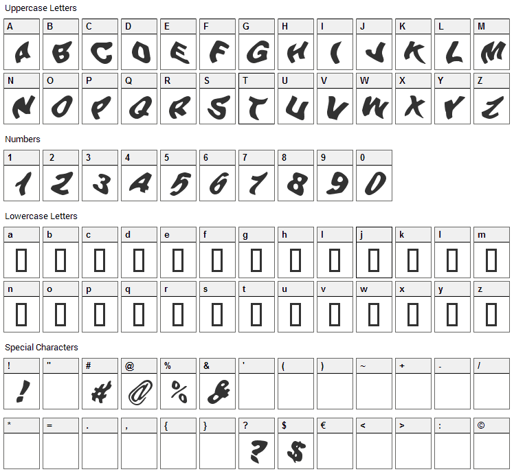 Beer Goggles Font Character Map