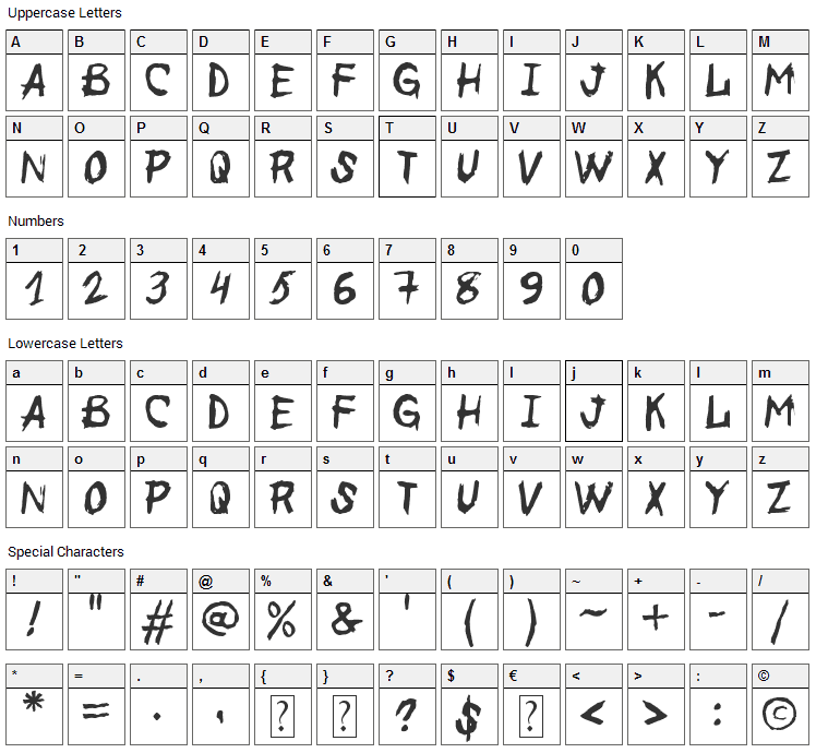 Before the End Font Character Map