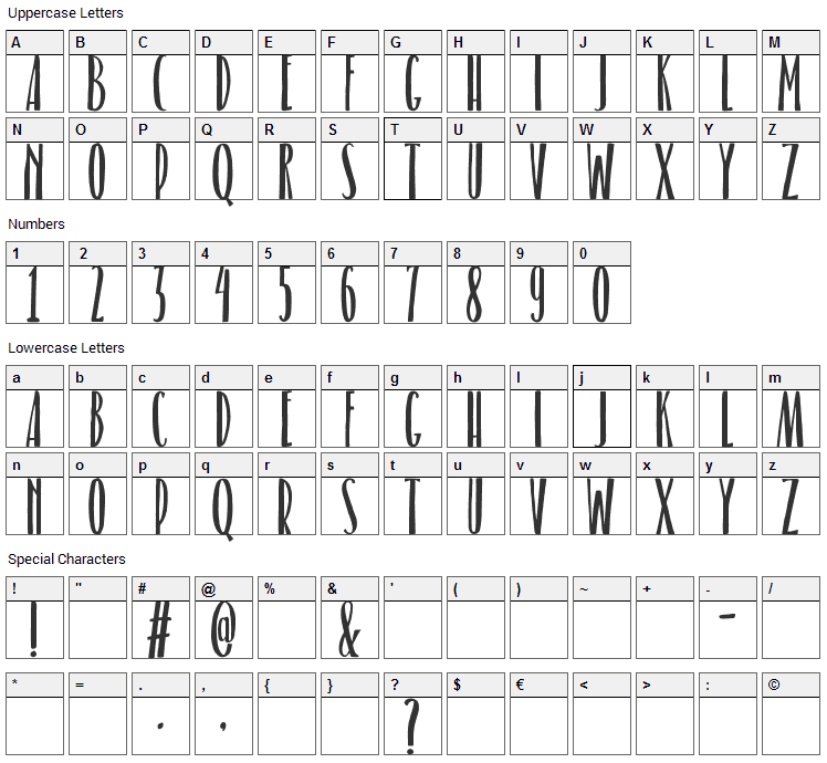 Belacu Font Character Map