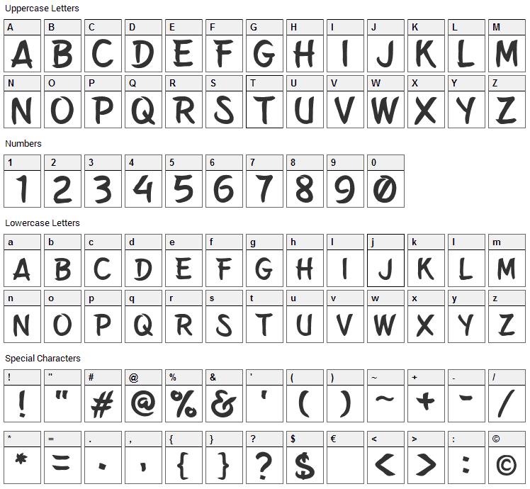 Belepotan Font Character Map